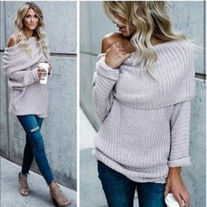 Umgee Chunky Off the Shoulder Lavender Sweater S